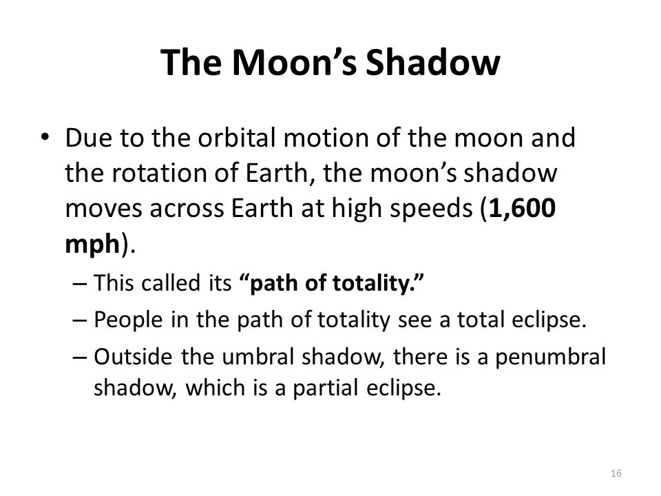 The Moon's Shadow Due to the orbital motion of the moon and the rotation of Earth, the moon's shadow moves across Earth at high speeds (1,600 mph).