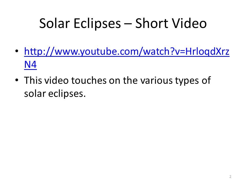 Solar Eclipses – Short Video