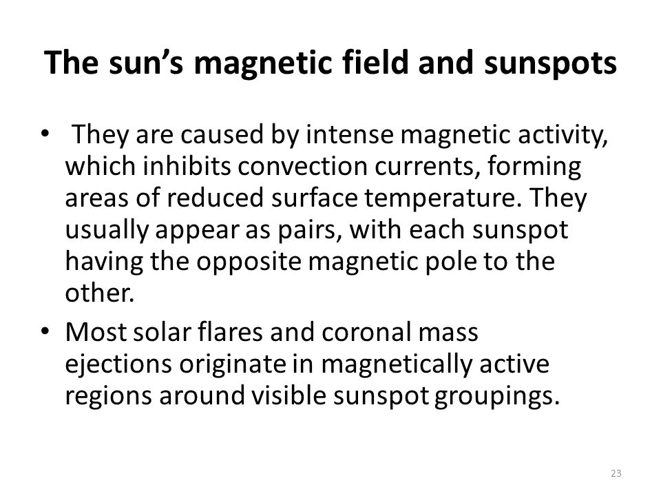 The sun's magnetic field and sunspots