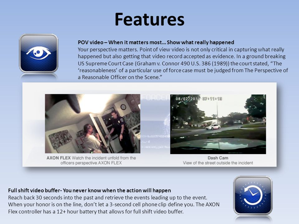 Features POV video – When it matters most… Show what really happened