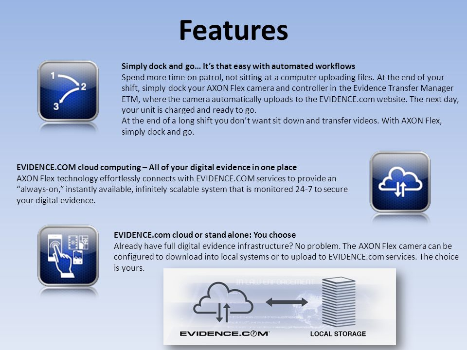 Features Simply dock and go… It's that easy with automated workflows