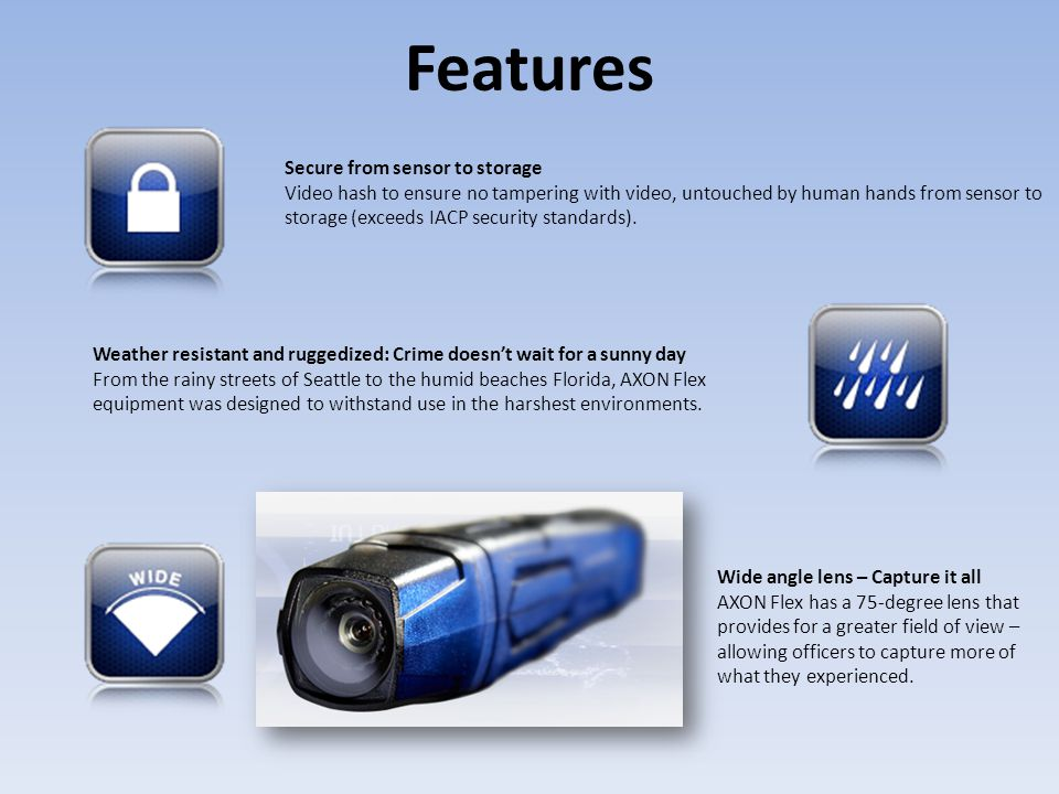 Features Secure from sensor to storage