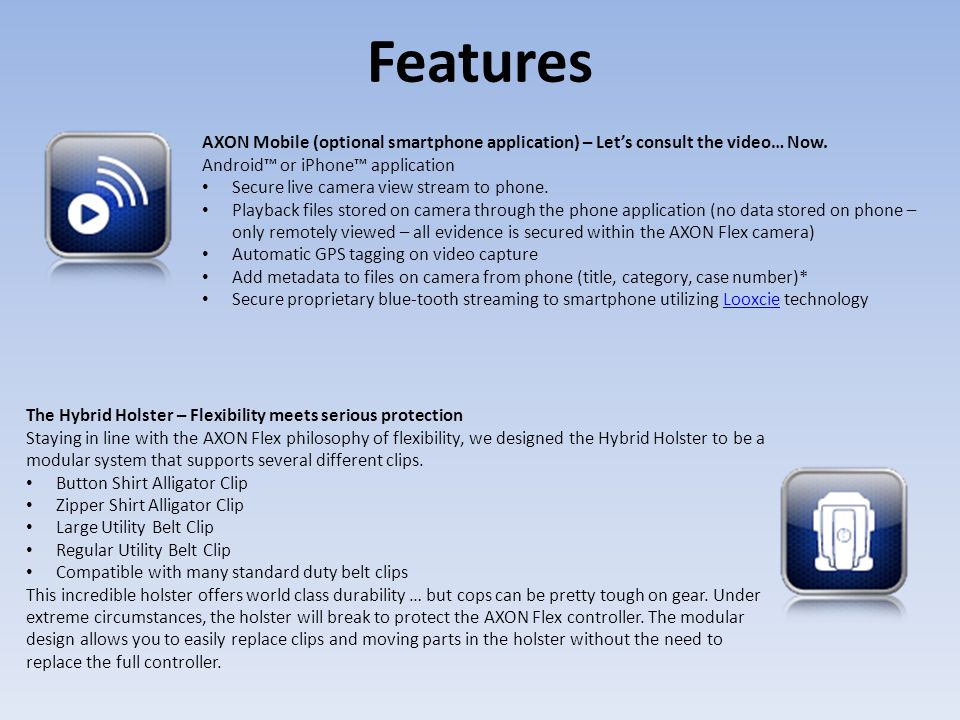 Features AXON Mobile (optional smartphone application) – Let's consult the video… Now. Android™ or iPhone™ application.