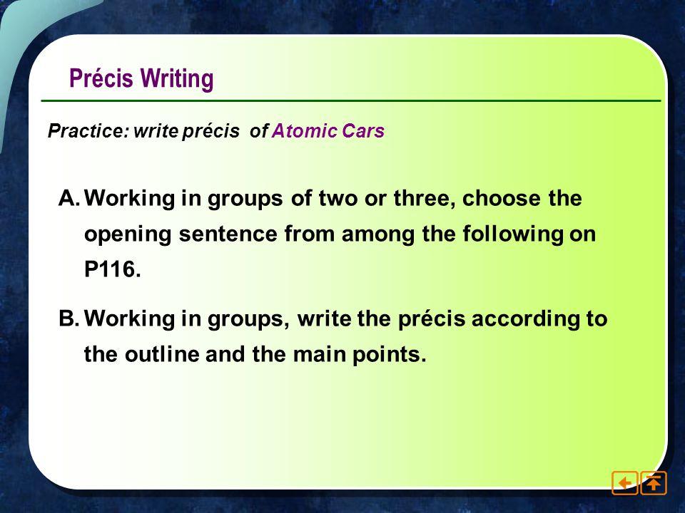 Précis Writing Practice: write précis of Atomic Cars.