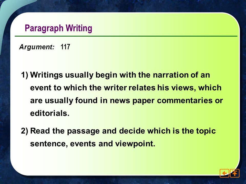 Paragraph Writing Argument: 117.