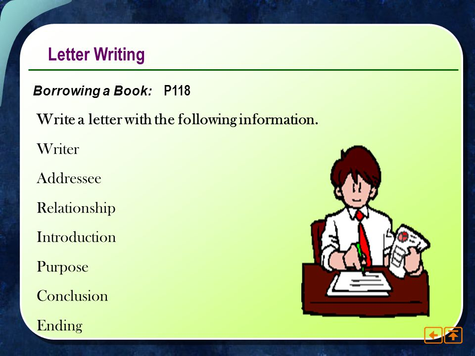Letter Writing Write a letter with the following information. Writer