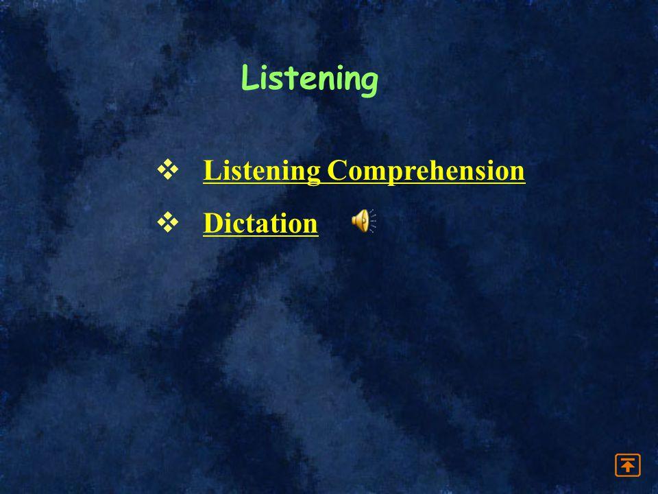 Listening Listening Comprehension Dictation