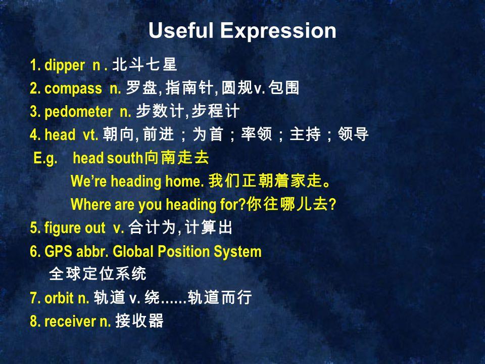 Useful Expression 1. dipper n . 北斗七星 2. compass n. 罗盘, 指南针, 圆规v. 包围
