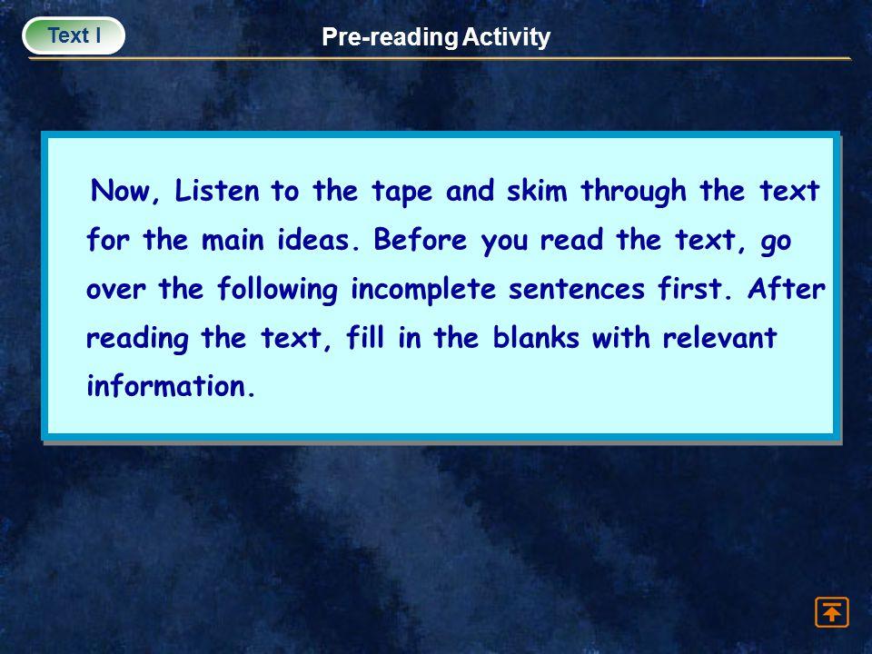 Text I Pre-reading Activity.