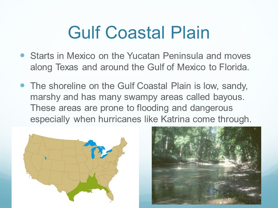 Gulf Coastal Plain Starts in Mexico on the Yucatan Peninsula and moves along Texas and around the Gulf of Mexico to Florida.