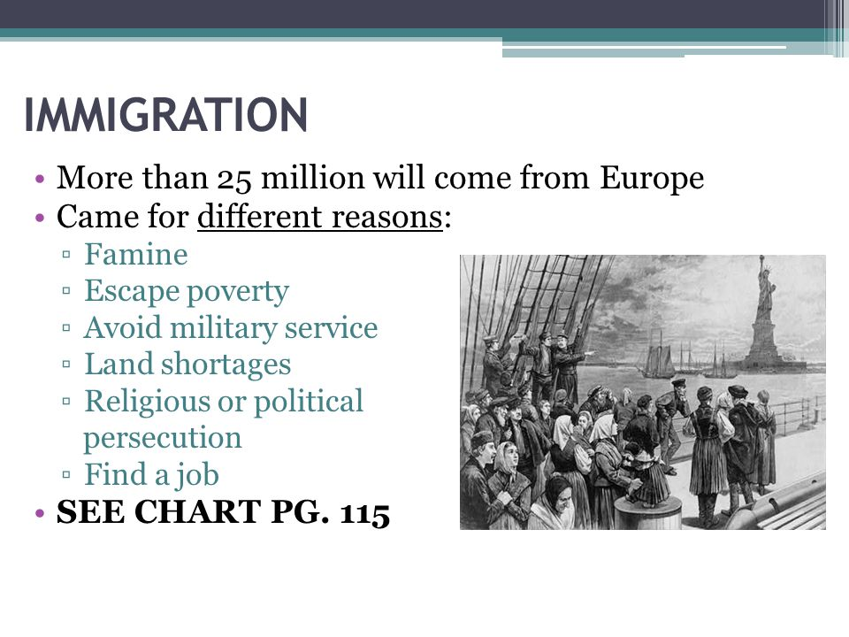 IMMIGRATION More than 25 million will come from Europe