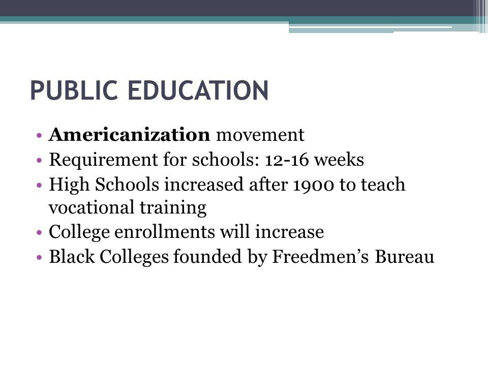 PUBLIC EDUCATION Americanization movement