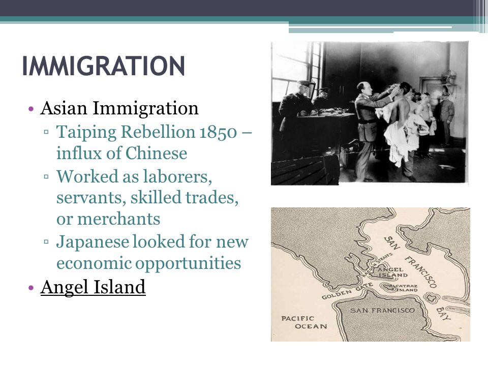 IMMIGRATION Asian Immigration Angel Island