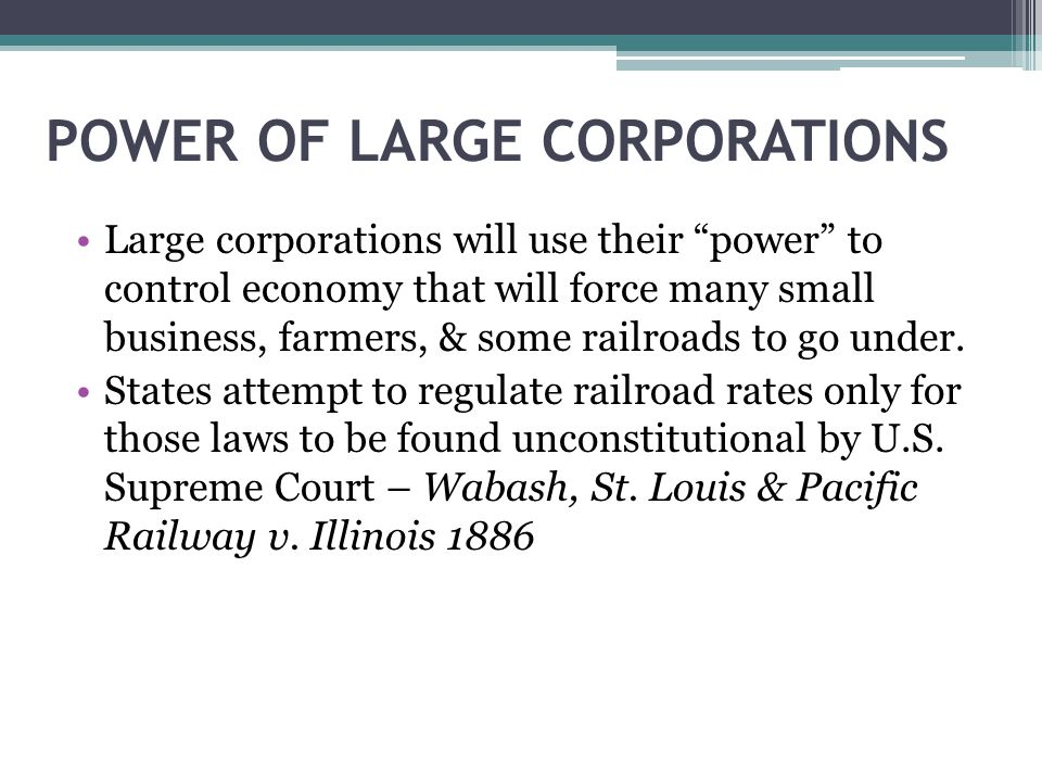 POWER OF LARGE CORPORATIONS