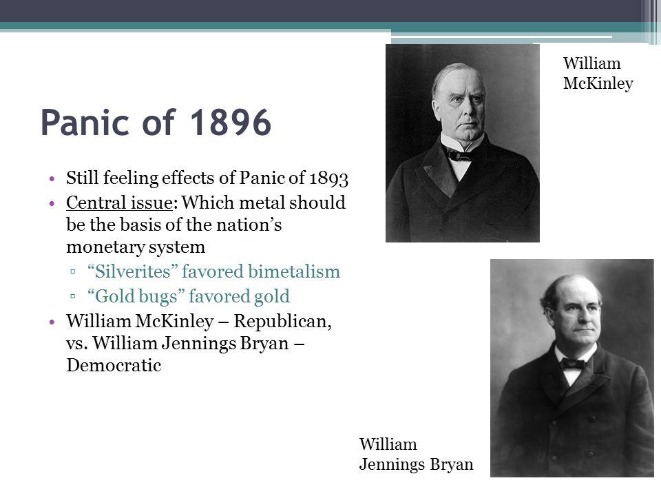 Panic of 1896 Still feeling effects of Panic of 1893