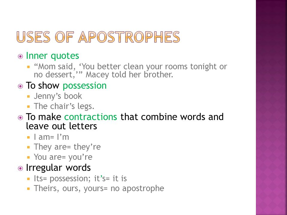 Uses of apostrophes Inner quotes To show possession