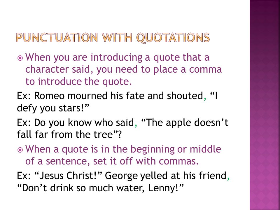 Punctuation with quotations