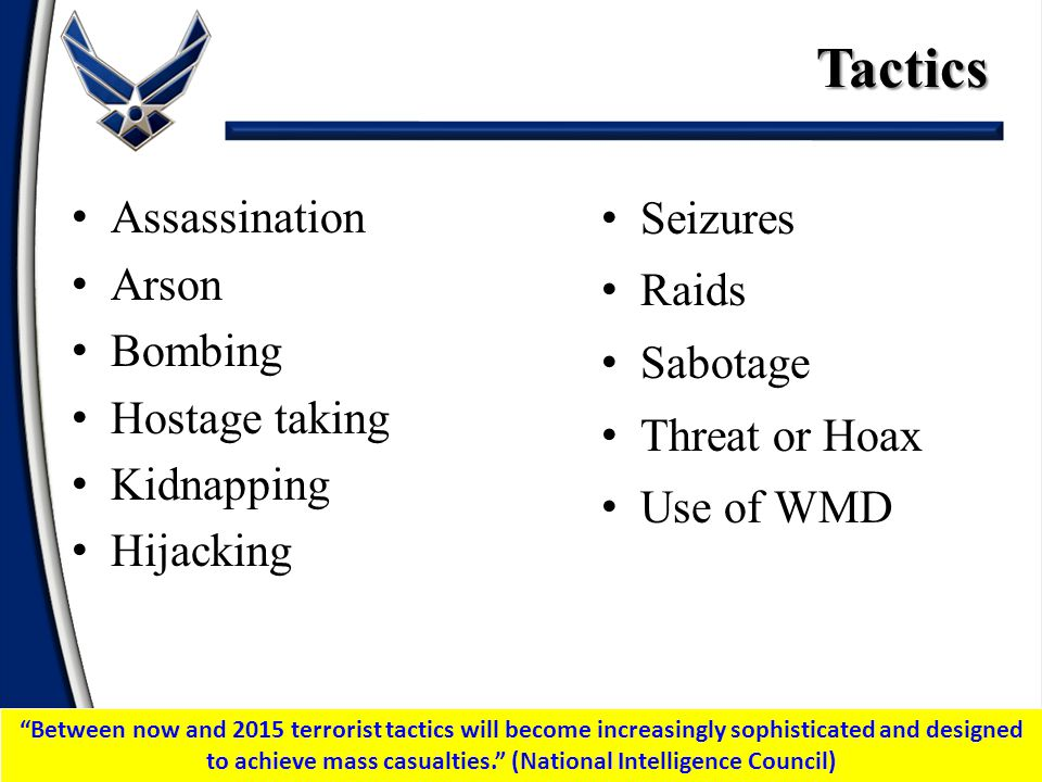 Tactics Seizures Raids Sabotage Threat or Hoax Use of WMD