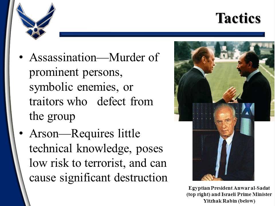 Tactics Egyptian President Anwar al-Sadat (top right) and Israeli Prime Minister Yitzhak Rabin (below)