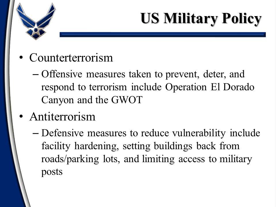 US Military Policy Counterterrorism Antiterrorism