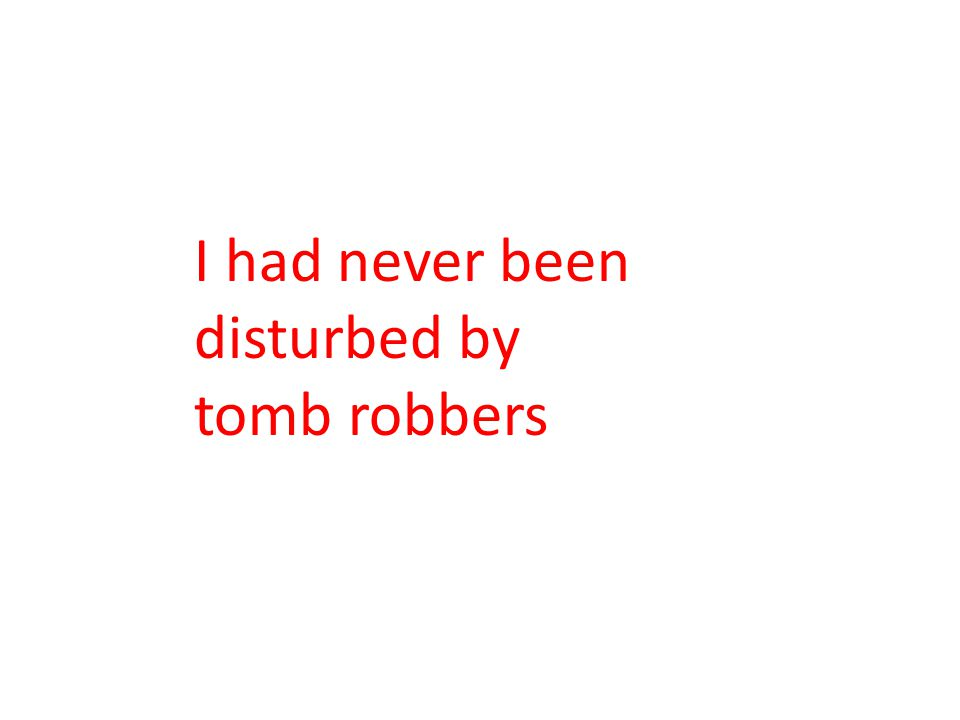 I had never been disturbed by tomb robbers