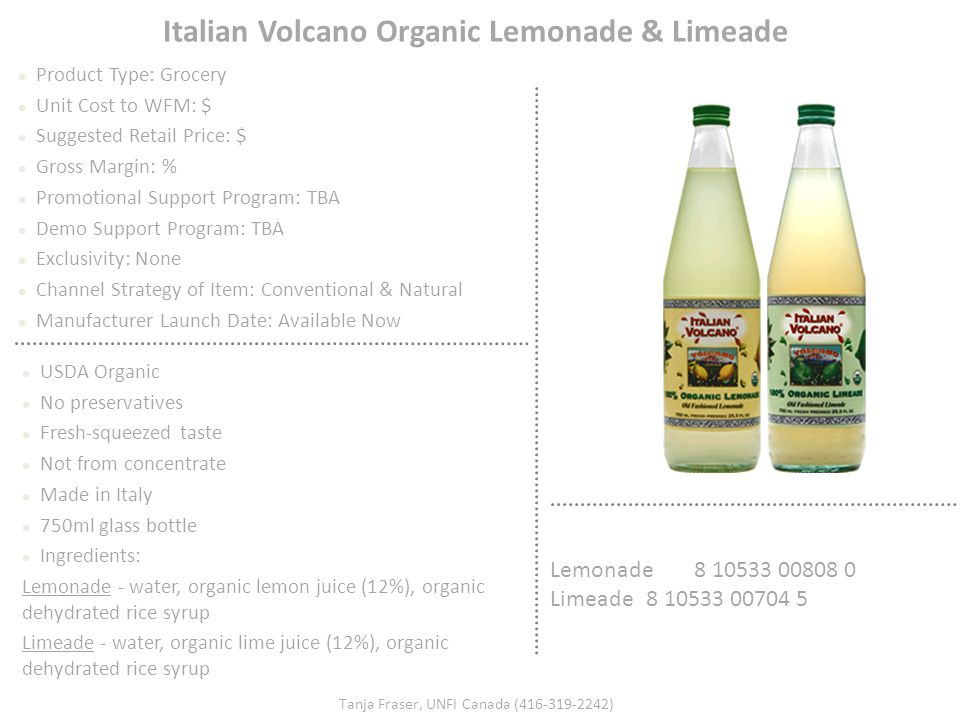 Italian Volcano Organic Lemonade & Limeade