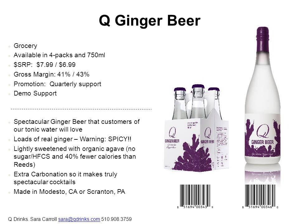 Q Ginger Beer Grocery Available in 4-packs and 750ml