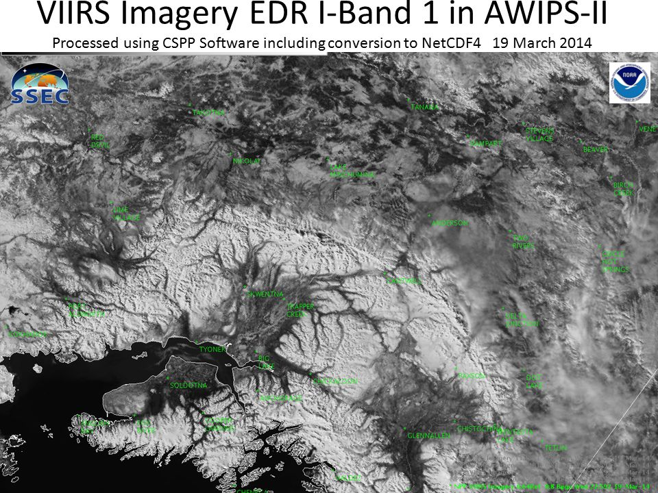 VIIRS Imagery EDR I-Band 1 in AWIPS-II Processed using CSPP Software including conversion to NetCDF4 19 March 2014