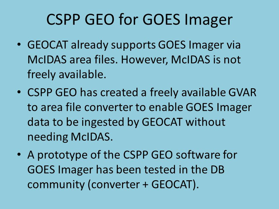 CSPP GEO for GOES Imager