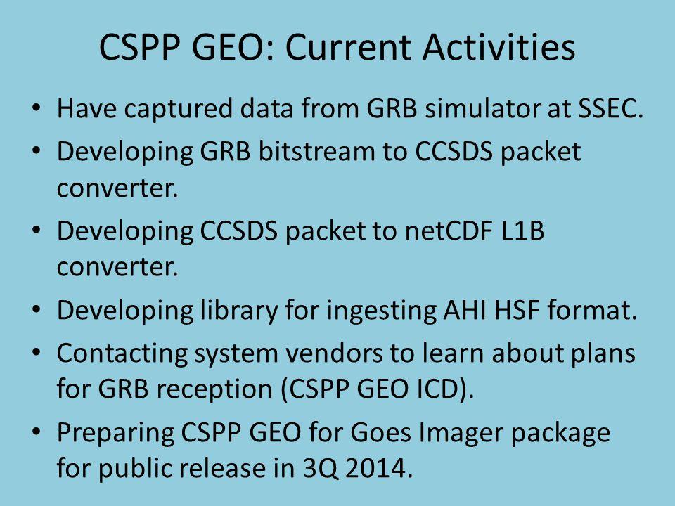 CSPP GEO: Current Activities