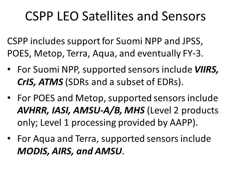 CSPP LEO Satellites and Sensors