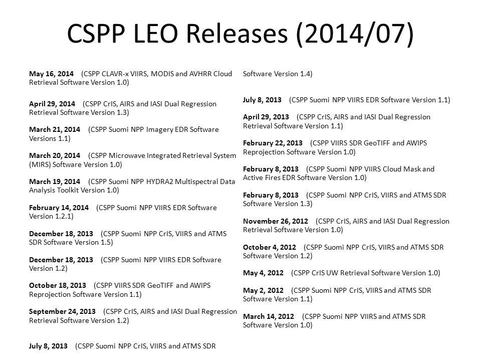 CSPP LEO Releases (2014/07)