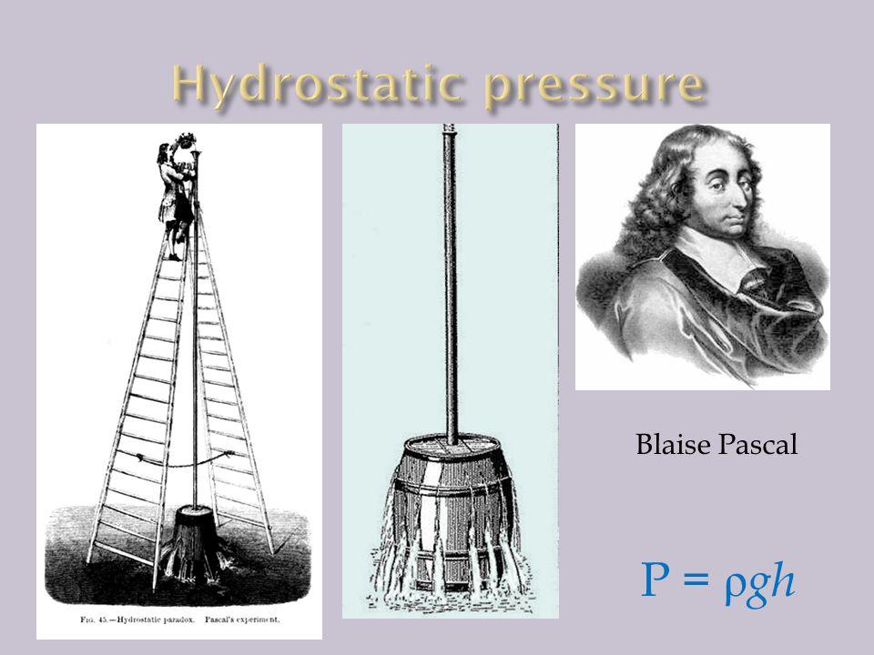 Hydrostatic pressure Blaise Pascal P = ρgh