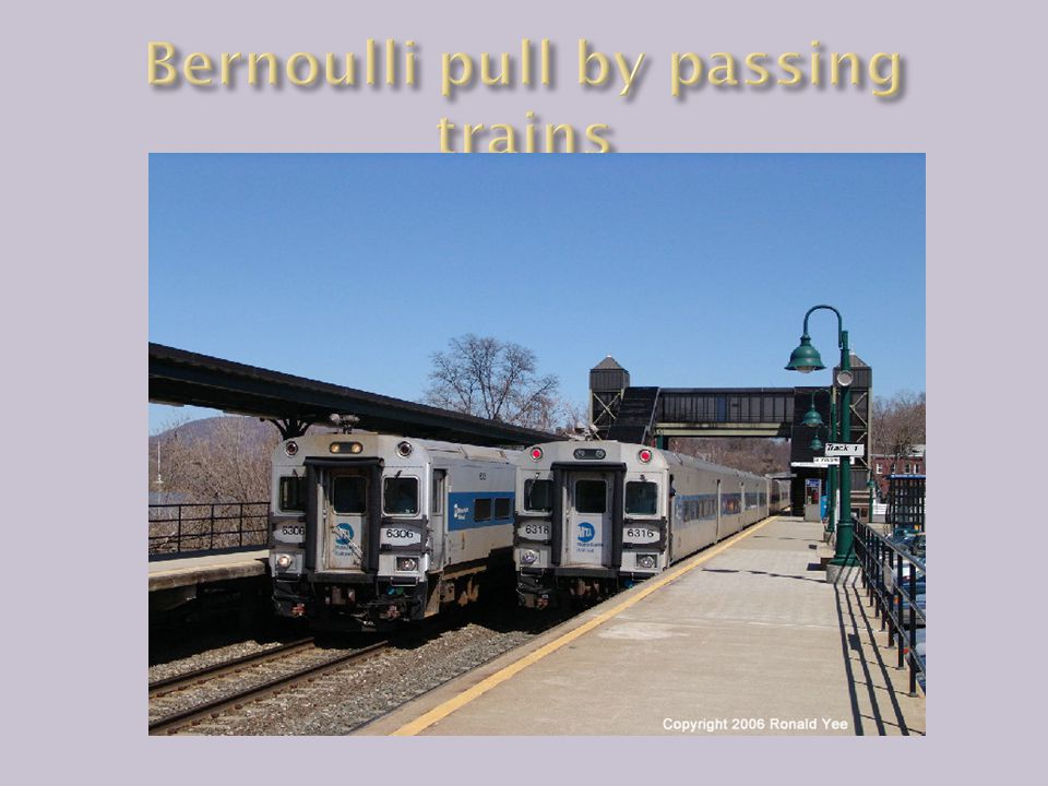 Bernoulli pull by passing trains