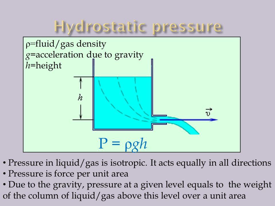 Hydrostatic pressure P = ρgh ρ=fluid/gas density