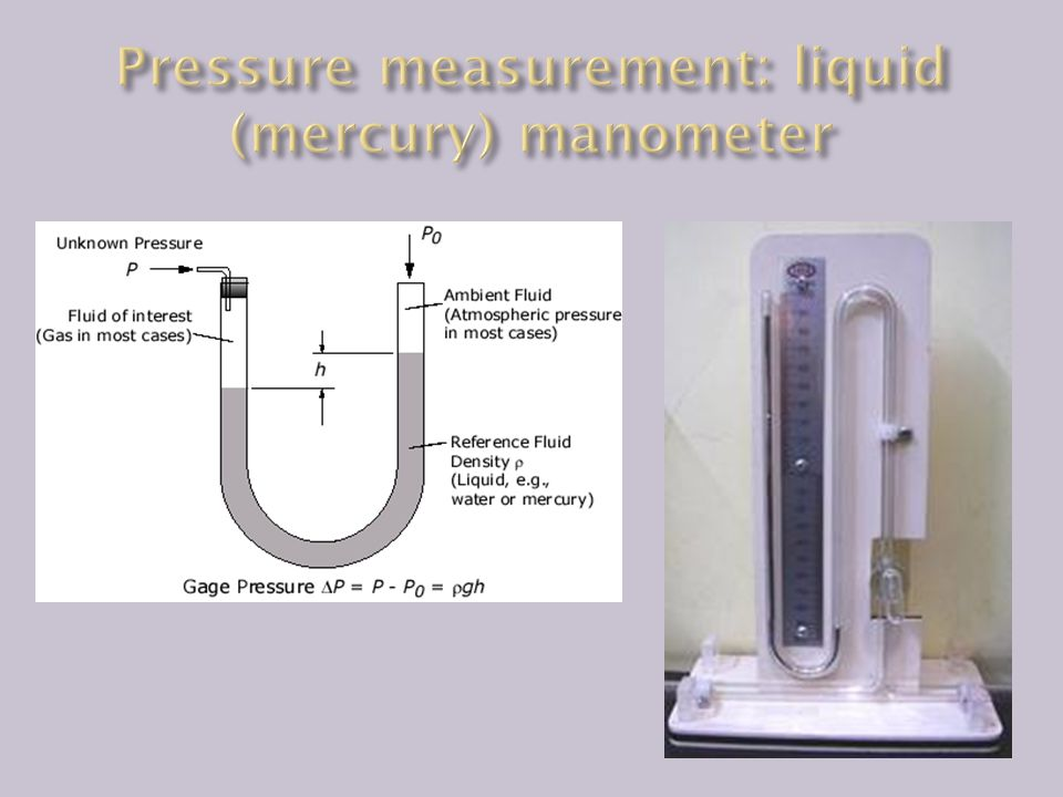 Pressure measurement: liquid (mercury) manometer