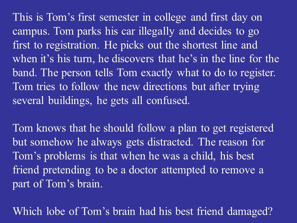 Which lobe of Tom's brain had his best friend damaged