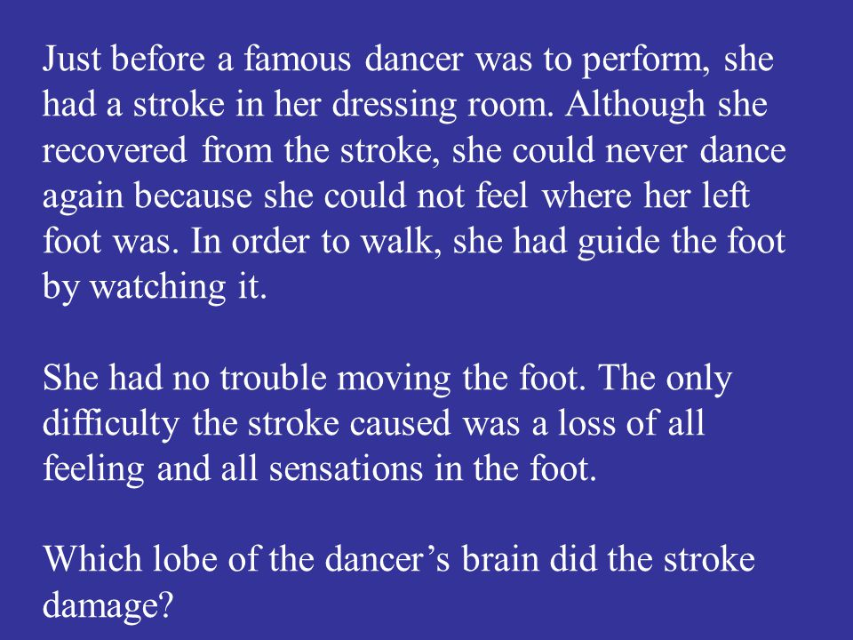 Which lobe of the dancer's brain did the stroke damage