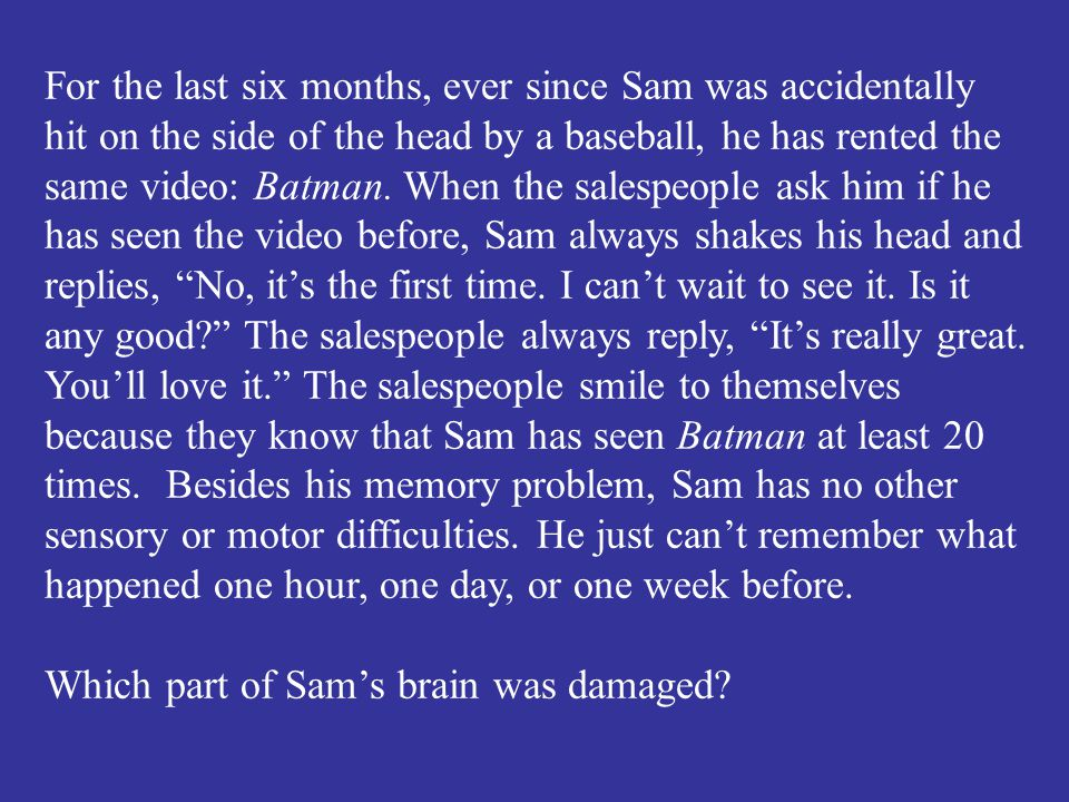 Which part of Sam's brain was damaged