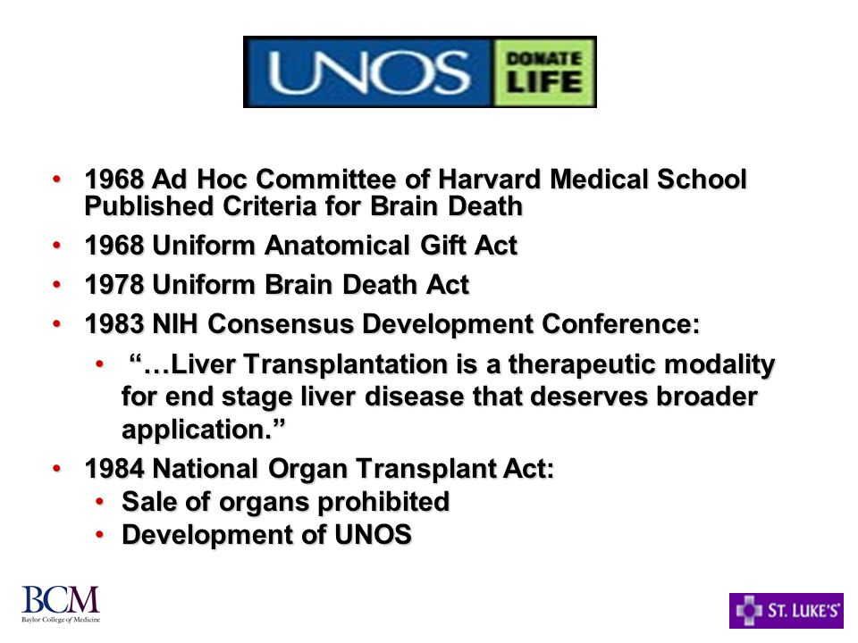 1968 Ad Hoc Committee of Harvard Medical School Published Criteria for Brain Death