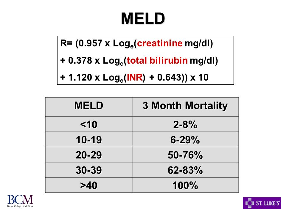 MELD MELD 3 Month Mortality <10 2-8% 10-19 6-29% 20-29 50-76% 30-39