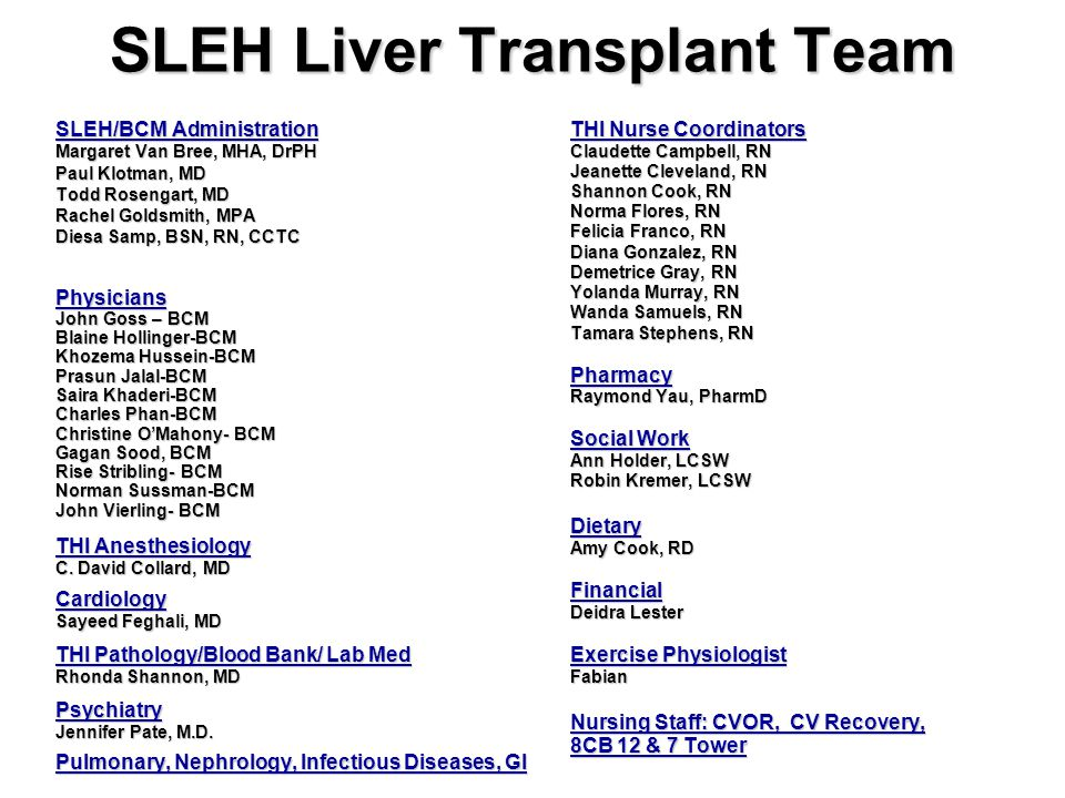 SLEH Liver Transplant Team