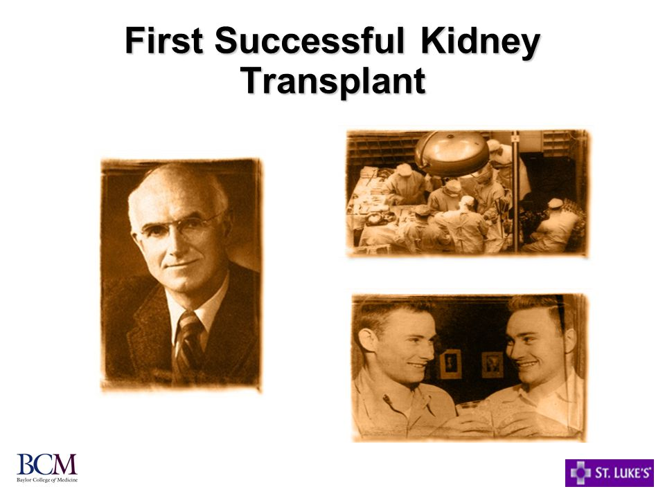 First Successful Kidney Transplant