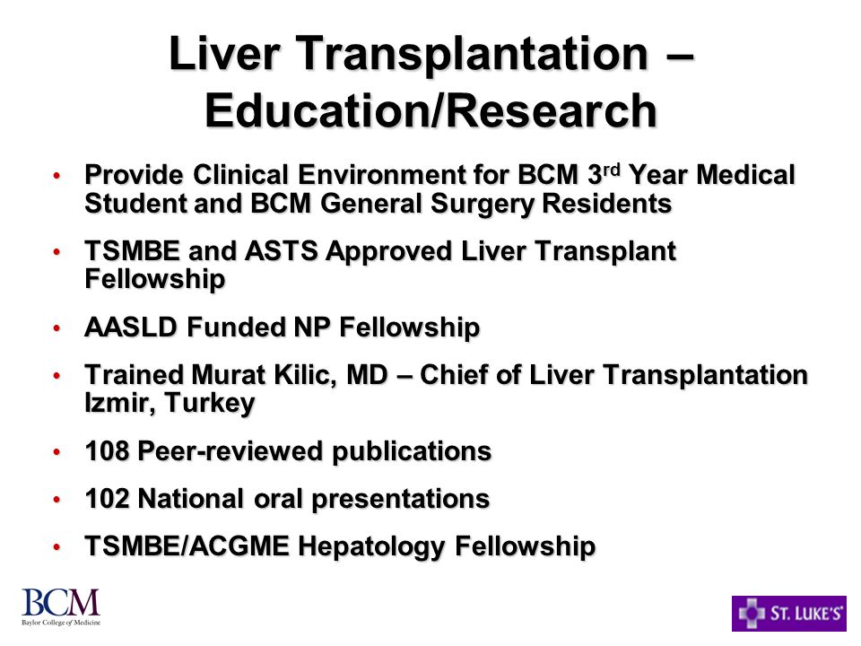 Liver Transplantation – Education/Research