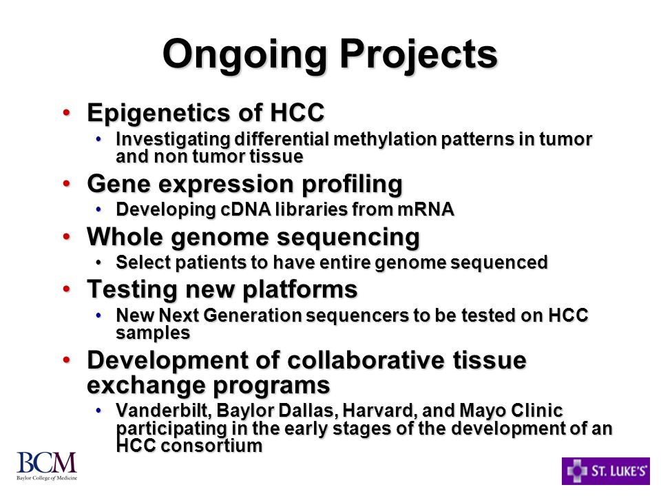 Ongoing Projects Epigenetics of HCC Gene expression profiling