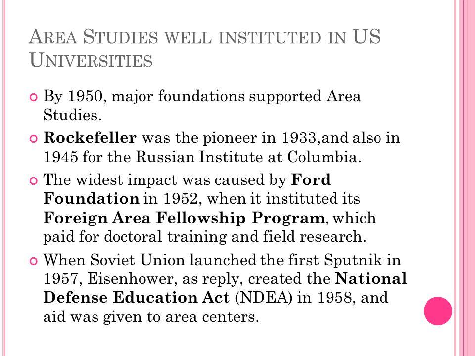 Area Studies well instituted in US Universities