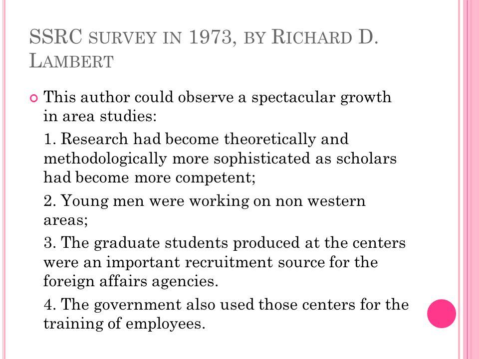 SSRC survey in 1973, by Richard D. Lambert
