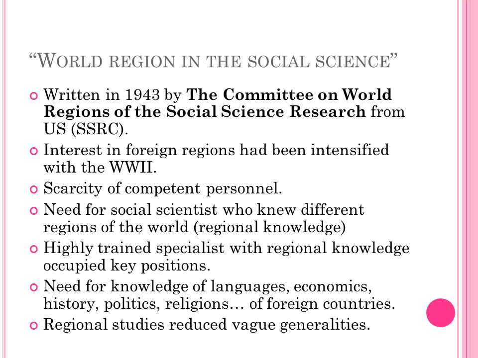 World region in the social science