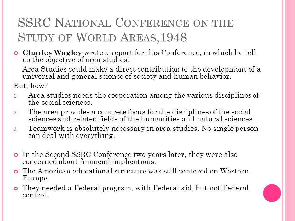 SSRC National Conference on the Study of World Areas,1948