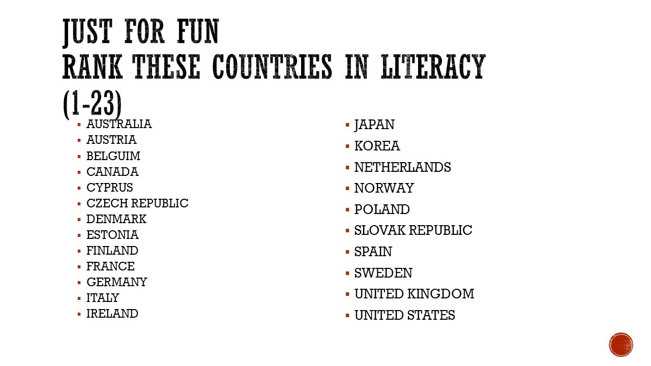 Just for fun Rank THESE COUNTRIES IN LITERACY (1-23)